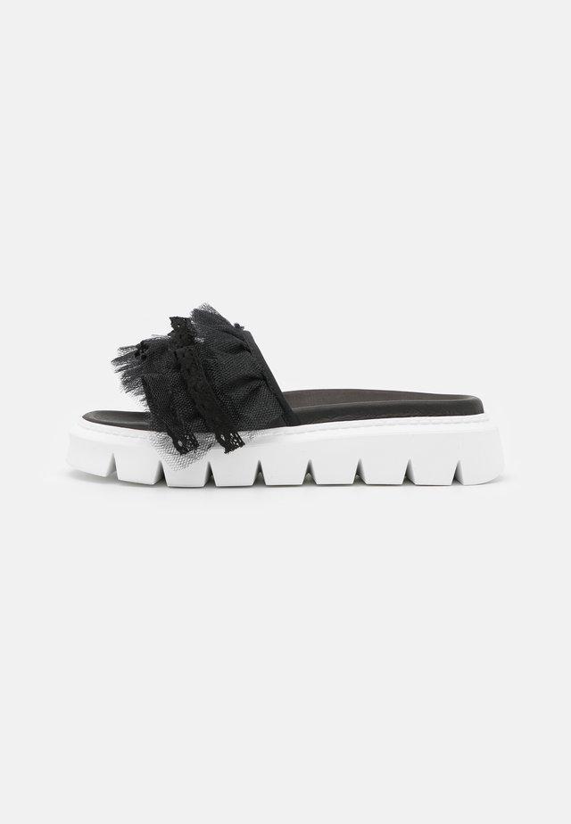 TULLE SLIDE  - Pantolette flach - black