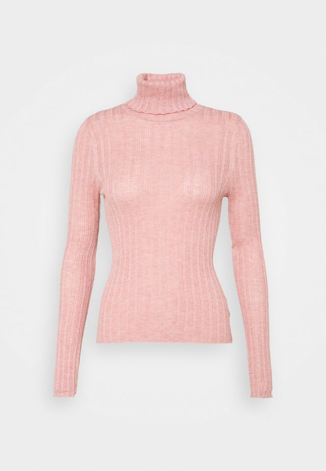SOLID BODYCON TURTLENECK - Sweter - rosy
