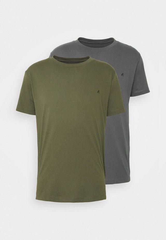 2 PACK - T-shirt basique - olive/grey