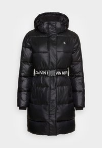 Calvin Klein Jeans - LOGO BELT WAISTED LONG PUFFER - Winter coat - black - 4