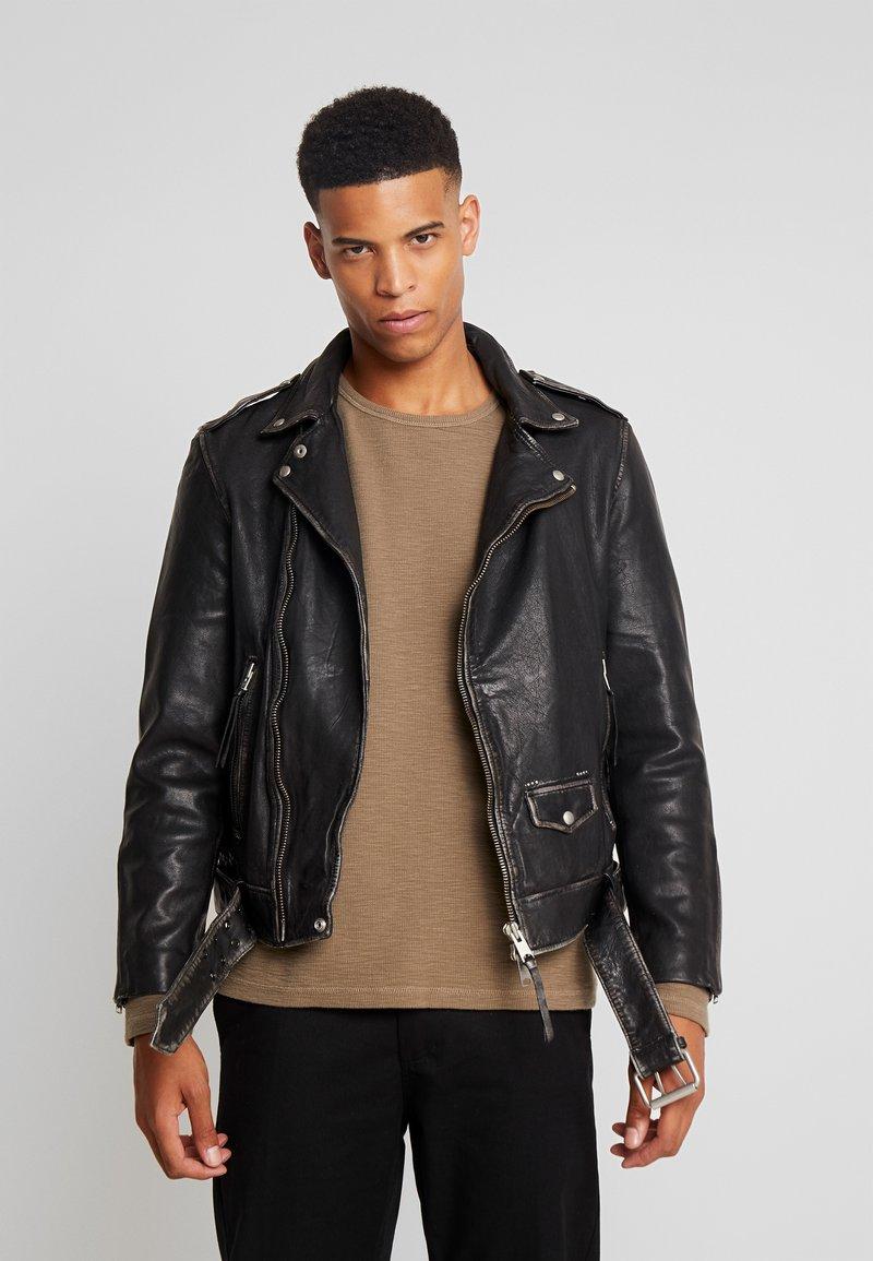 AllSaints - HAWLEY BIKER - Veste en cuir - black