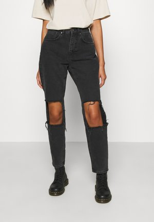 CHARCOAL SQUARE CUT OUT KNEE JEAN - Jean boyfriend - charcoal