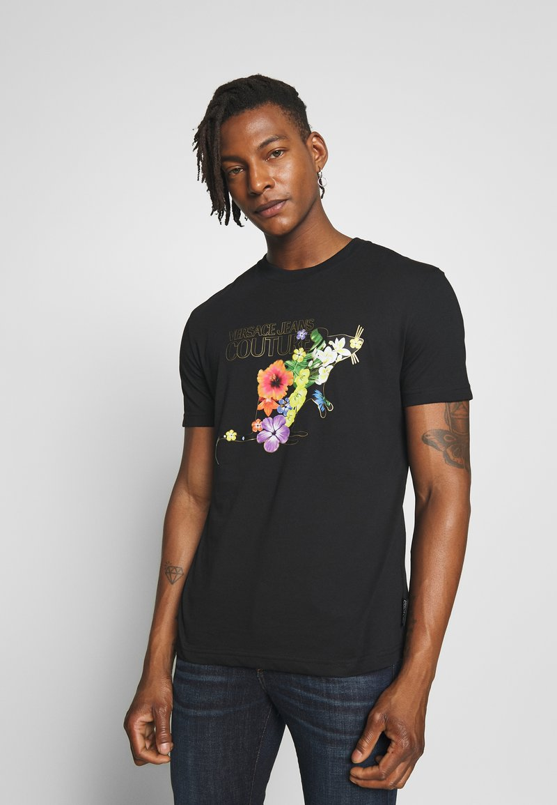 Versace Jeans Couture - FLORAL RAT LOGO - T-shirt print - black