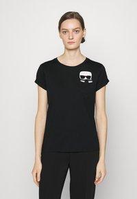 KARL LAGERFELD - IKONIK KARL POCKET TEE - Print T-shirt - black - 0