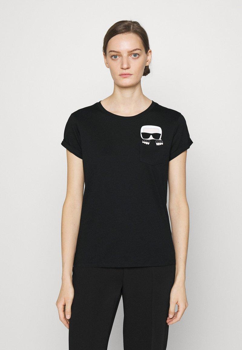 KARL LAGERFELD - IKONIK KARL POCKET TEE - Print T-shirt - black