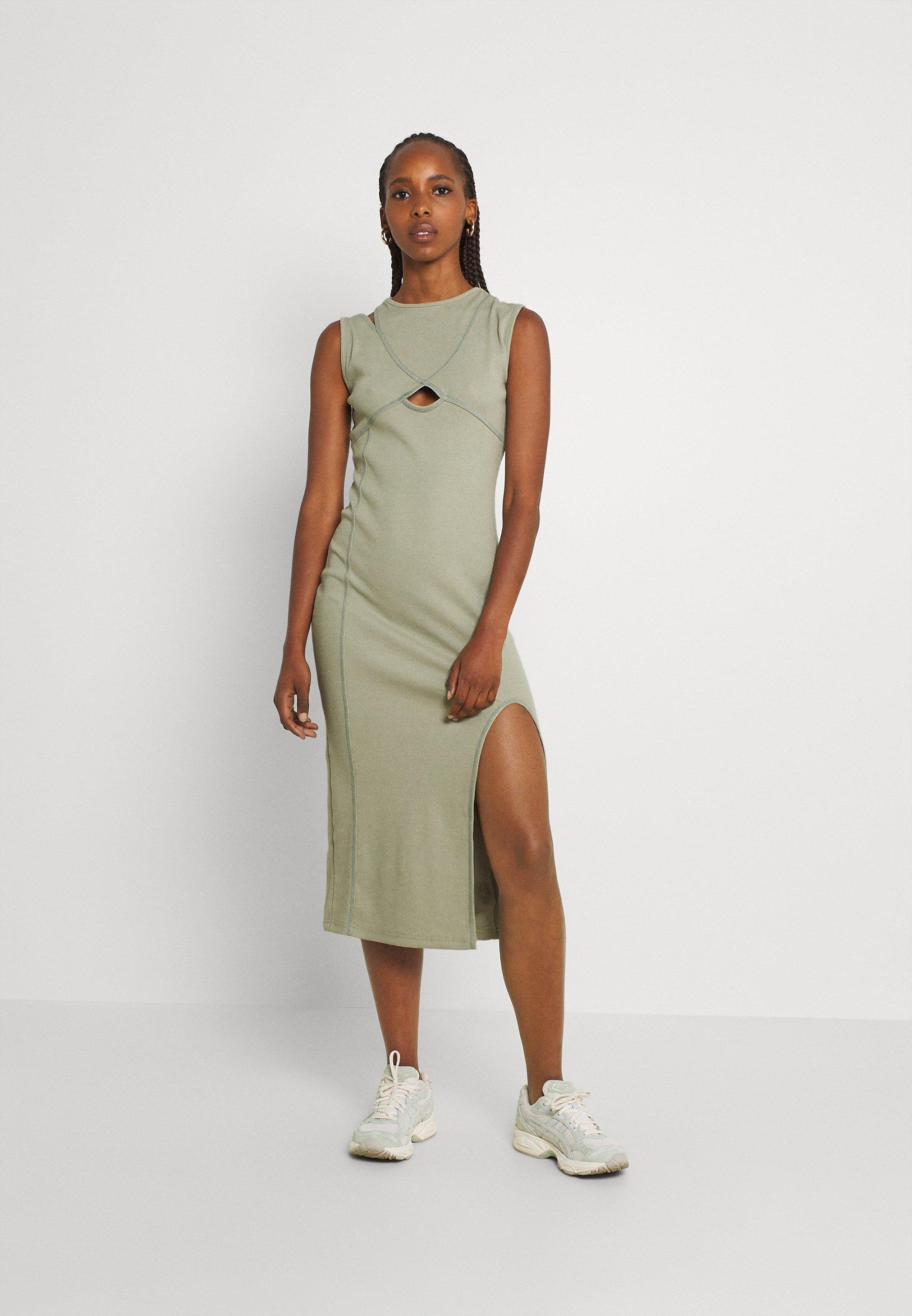 Damen CUT OUT CONTRAST STITCH ASYMM SHOULDER MIDI DRESS - Jerseykleid