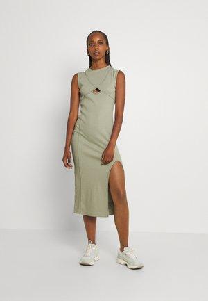 CUT OUT CONTRAST STITCH ASYMM SHOULDER MIDI DRESS - Jersey dress - sage