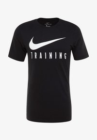 Nike Performance - DRY TEE NIKE TRAIN - T-shirt print - black/white - 3
