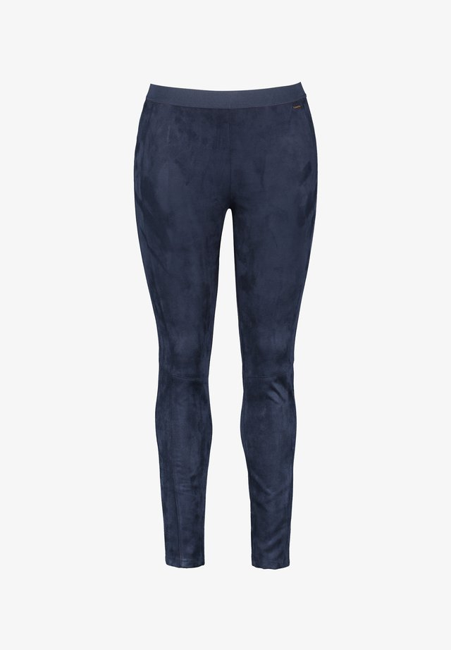 LANG IN VELOURSLEDER-OPTIK - Legging - navy