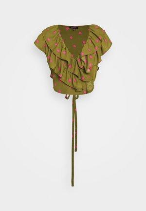 RUFFLE WRAP - Blouse - army/pink