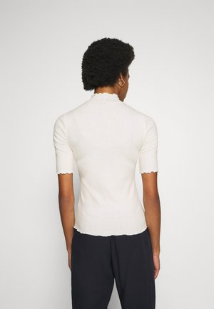 POINTELLE MOCK - Print T-shirt - white