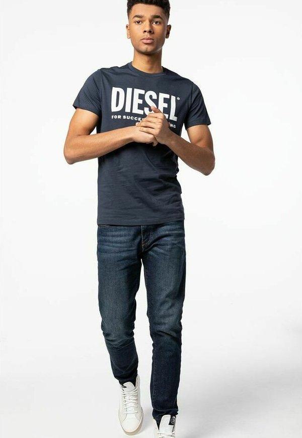 Diesel T-shirt z nadrukiem - navy/niebieski Odzież Męska RILC