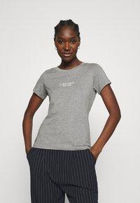 Calvin Klein - SLIM FIT 2 PACK - Triko spotiskem - bright white/mid grey heather - 4
