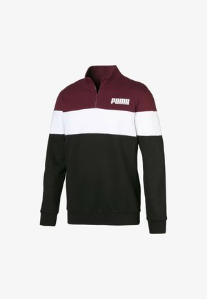 Sweater - black-tawny port-white