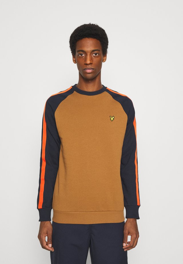 COLOUR BLOCK CREW - Sweater - tawny brown