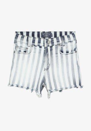 GIRLS HIGH WAIST - Shorts vaqueros - blau/weiß