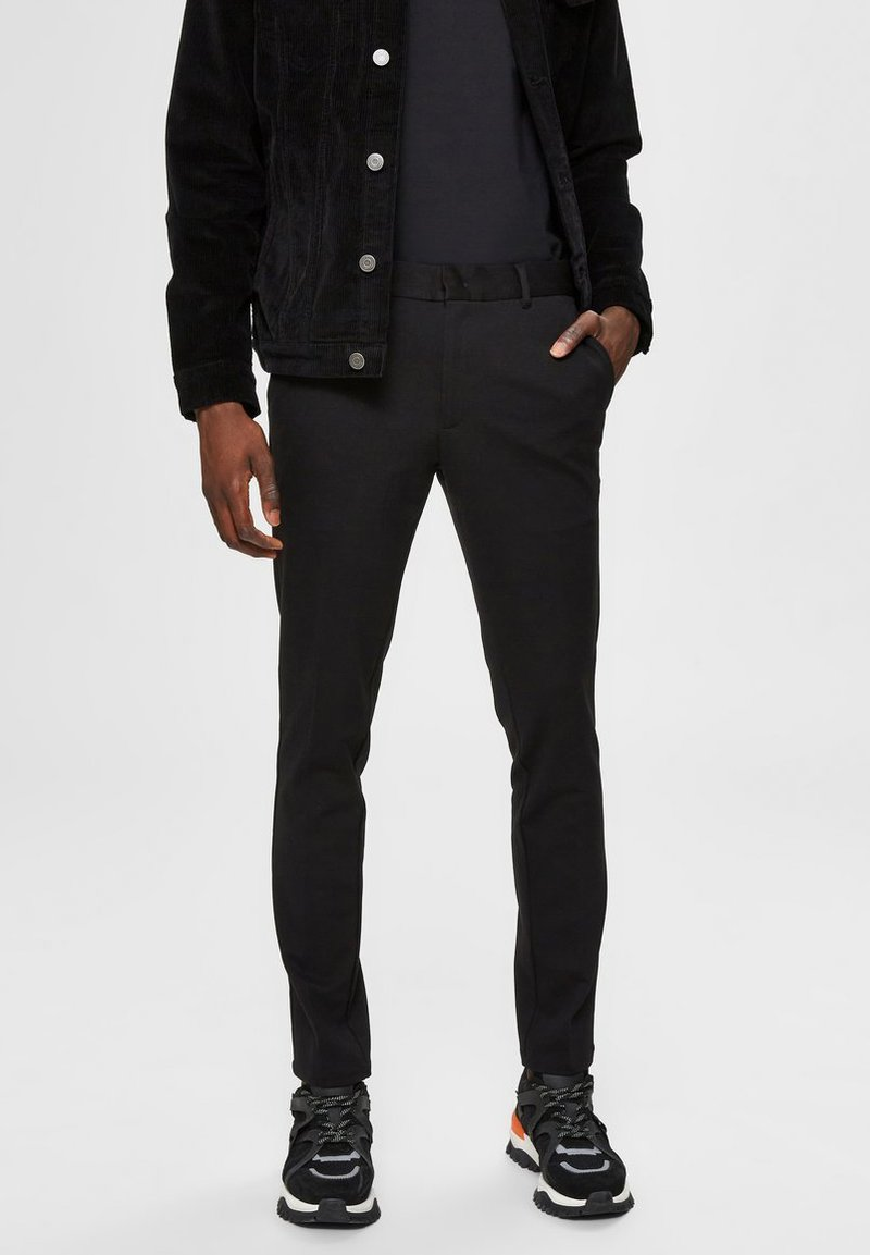 Selected Homme - FLEX FIT HOSE SLIM FIT - Chino kalhoty - black