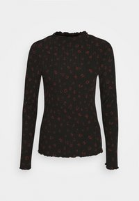 TOM TAILOR DENIM - LONGSLEEVE WITH LETTUCE EDGES - Long sleeved top - black rust flower print - 0