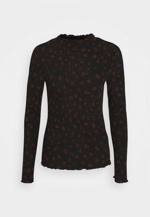 LONGSLEEVE WITH LETTUCE EDGES - Long sleeved top - black rust flower print