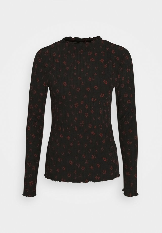 LONGSLEEVE WITH LETTUCE EDGES - Bluzka z długim rękawem - black rust flower print