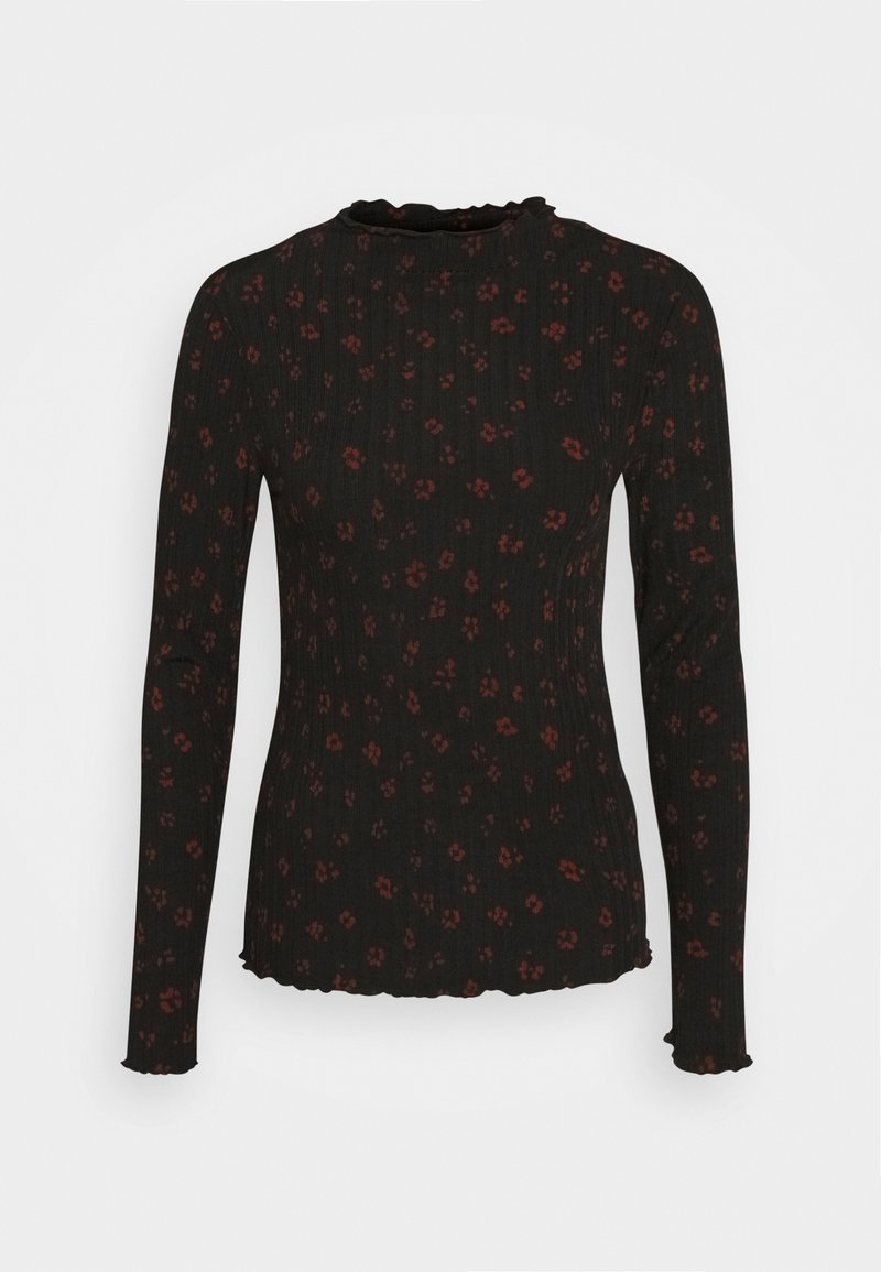 TOM TAILOR DENIM - LONGSLEEVE WITH LETTUCE EDGES - Långärmad tröja - black rust flower print