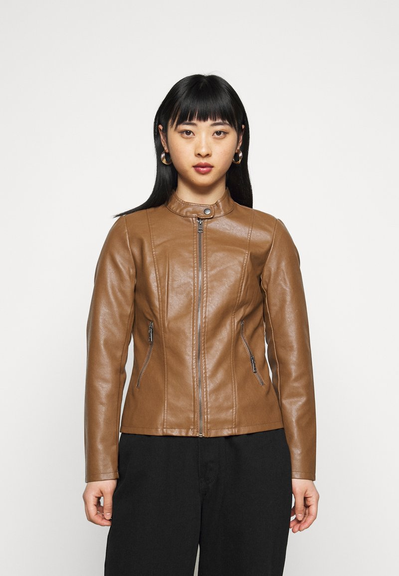 ONLY Petite - ONLMELISA JACKET - Faux leather jacket - cognac
