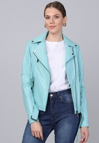 Basics and More - Leather jacket - mint - 3