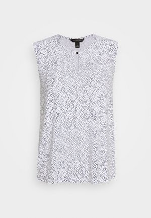 SMOCKED KEYHOLE FRONT PRINT - Top - white