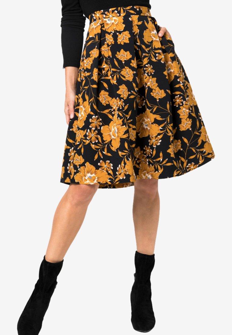 HALLHUBER - MIT BLUMENDRUCK - A-line skirt - black