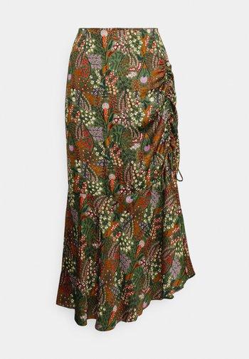 ASYMMETRIC HIGH RISE SKIRT - A-line skirt - mottled olive