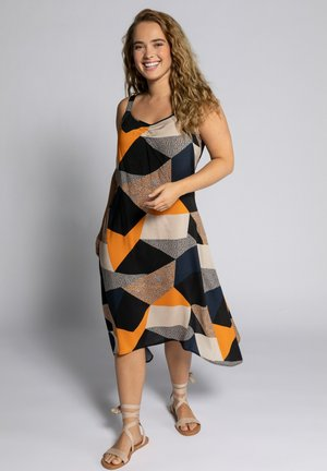 Day dress - orange, grey, beige