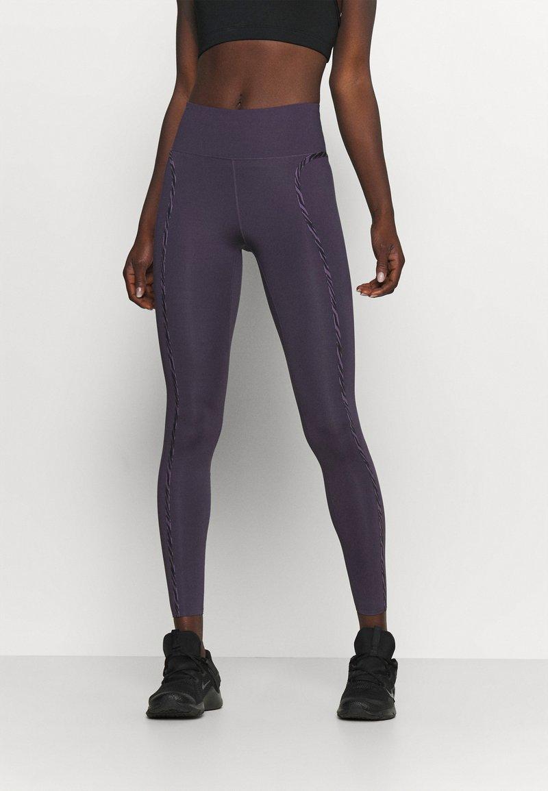 Nike Performance - ONE LUX - Legging - dark raisin/black/clear