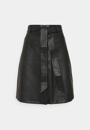 BELTED MINI SKIRT - Jupe trapèze - black