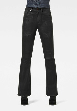 3301 HIGH FLARE - Flared Jeans - black radiant cobler restored