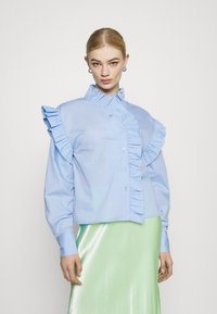 Gina Tricot - DINAH FRILL BLOUSE - Button-down blouse - blue bell - 0