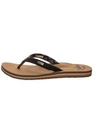 CUSHION - Sandály s odděleným palcem - black/tan