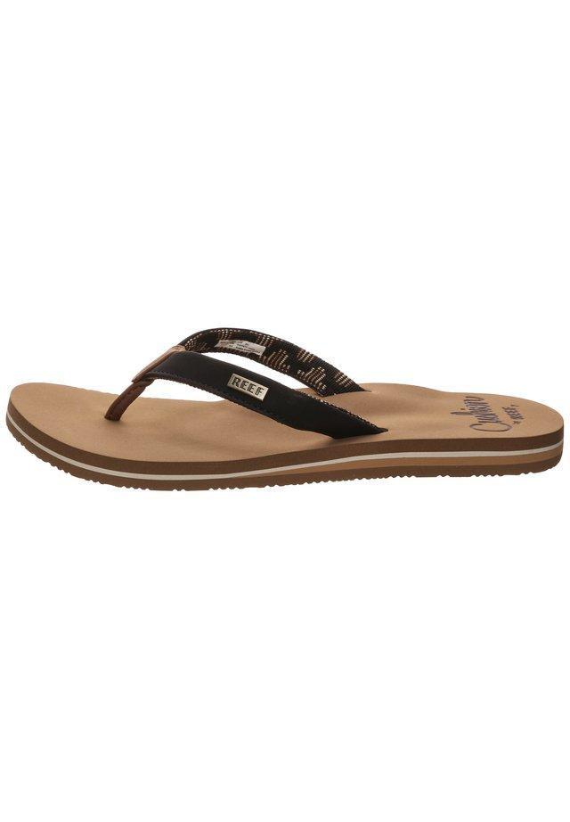 CUSHION - Flip Flops - black/tan
