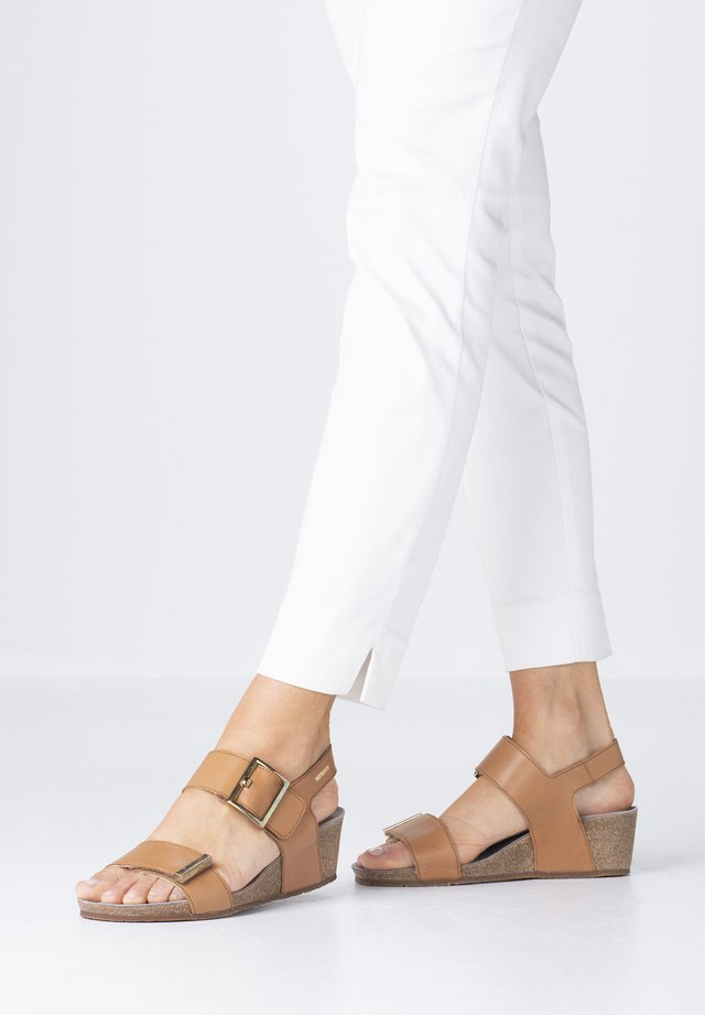 MORGANA - Wedge sandals - brandy