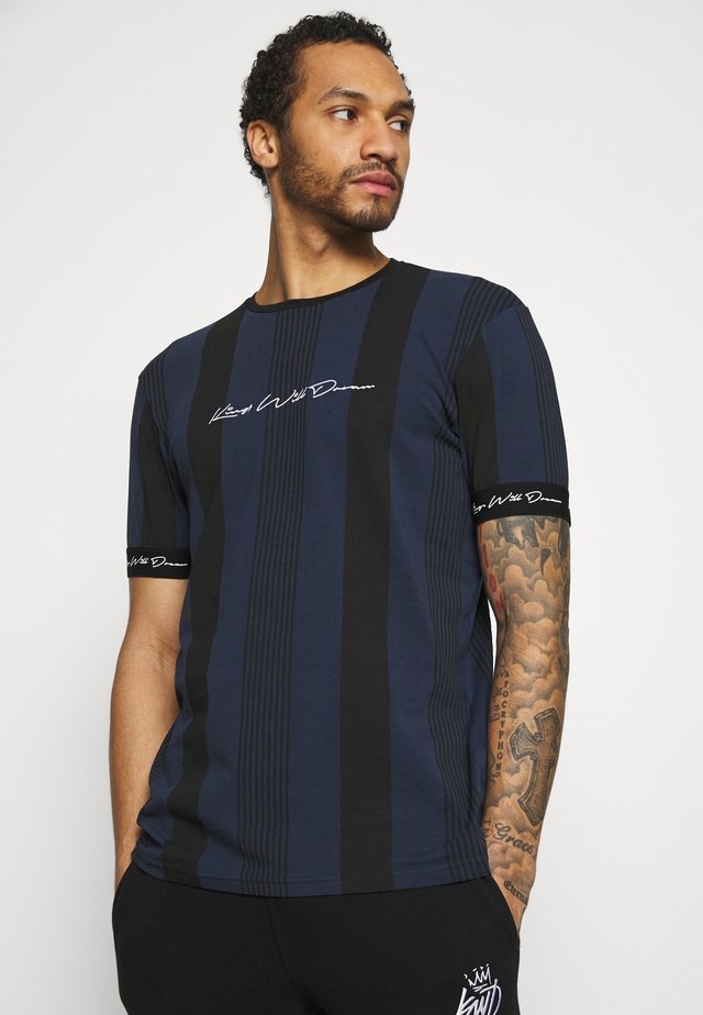 VEDTON STRIPE TEE - T-shirt con stampa - black iris/black