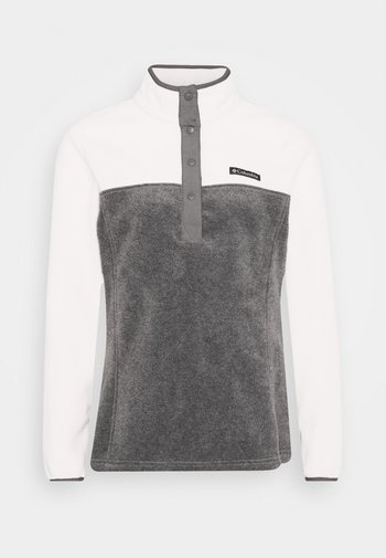 BENTON SNAP - Felpa in pile - city grey heather/chalk