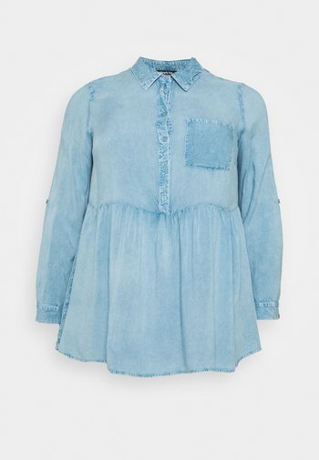 DIPPED BACK SHIRT - Blouse - washed blue