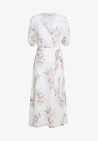 NA-KD - WRAP MIDI SHORT SLEEVE DRESS - Day dress - light flowers white - 0