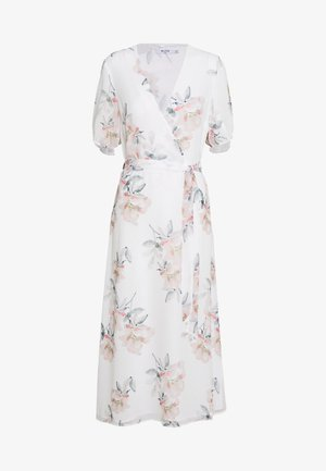 WRAP MIDI SHORT SLEEVE DRESS - Vestido informal - light flowers white