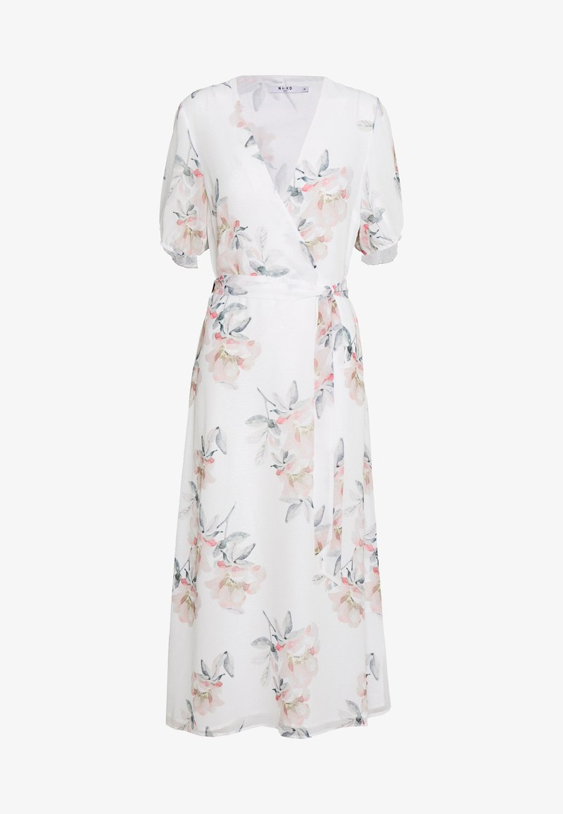 NA-KD - WRAP MIDI SHORT SLEEVE DRESS - Day dress - light flowers white
