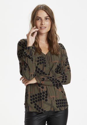 KAMARIA AMBER BLOUSE - Blouse - grape leaf stripe dot print