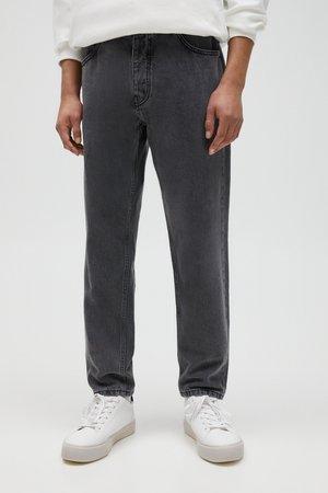 Jeans straight leg - mottled light grey