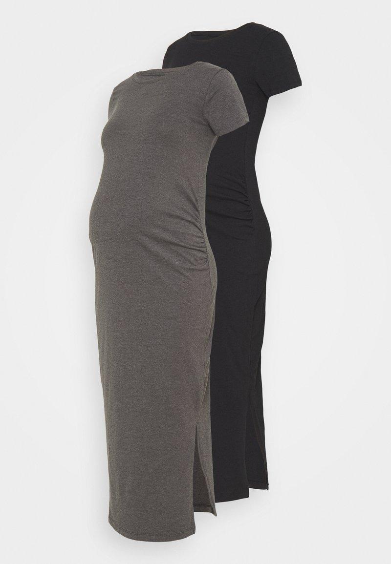 Anna Field MAMA - 2 PACK - Jerseykjoler - black/dark grey