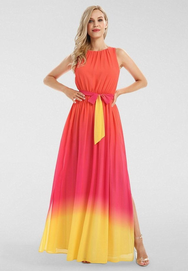 Robe longue - orangerot-pink-gelb