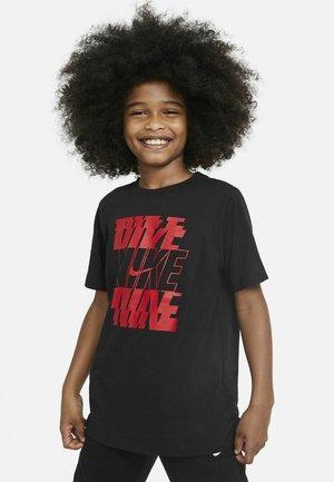 STACK  - Print T-shirt - black/university red