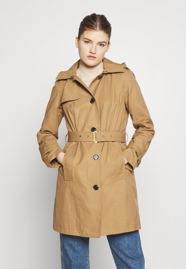 NEW WITH HOOD  - Trench - dark camel